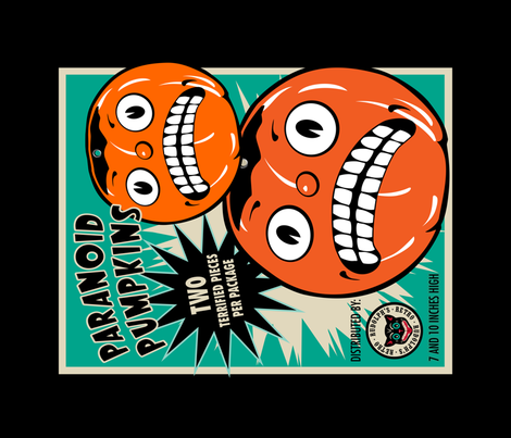 Paranoid Pumpkins Tea Towel fabric by retrorudolphs on Spoonflower - custom fabric