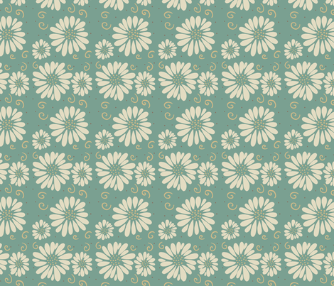 daisies and swirls teal/ivory fabric by alyson_chase on Spoonflower - custom fabric