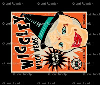 Wiggley Witch Heads Tea Towel