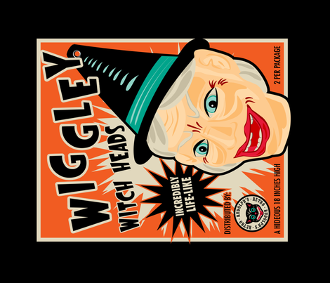Wiggley Witch Heads Tea Towel