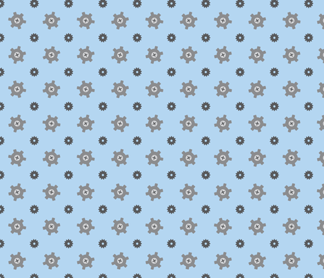 Blue gear fabric by petitspixels on Spoonflower - custom fabric