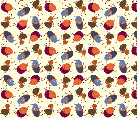 Critter - blue fabric by peikonpoika{by}brunou on Spoonflower - custom fabric