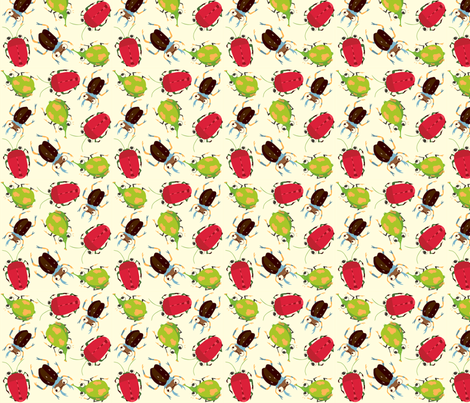 Critters - red fabric by peikonpoika{by}brunou on Spoonflower - custom fabric