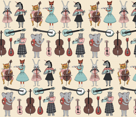 Amazing Animal Alphabet Band - Girl fabric by andrea_lauren on Spoonflower - custom fabric