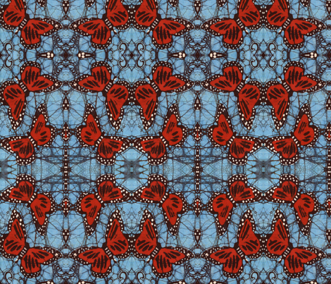 Mirrored Monarch fabric by hooeybatiks on Spoonflower - custom fabric