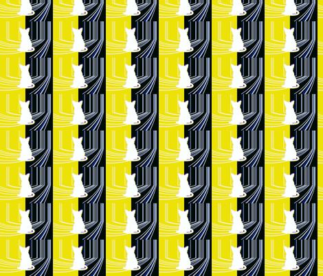 GATO  YELLOW  MARINE fabric by _vandecraats on Spoonflower - custom fabric