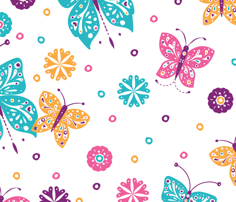 Sugar n Spice Butterflies Pattern - © Lucinda Wei fabric by simboko on Spoonflower - custom fabric