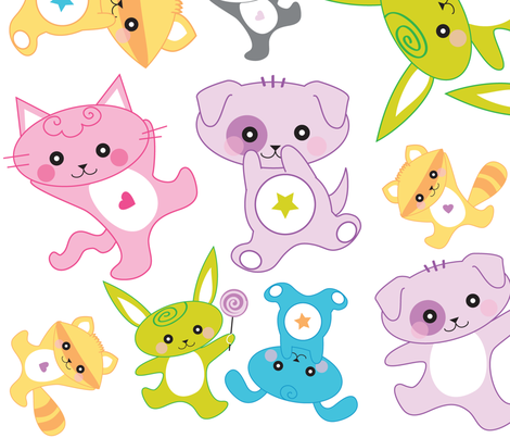 Kawaii: Happy Critters Wall Decals - © Lucinda Wei fabric by lucindawei on Spoonflower - custom fabric