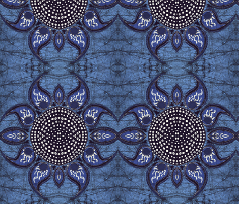 Batik horned flower fabric by hooeybatiks on Spoonflower - custom fabric