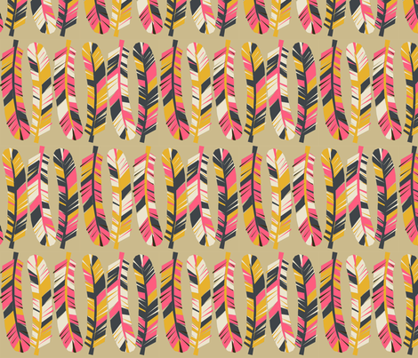 Feathers - Parisian Blue/Cream/French Rose/Saffron fabric by andrea_lauren on Spoonflower - custom fabric