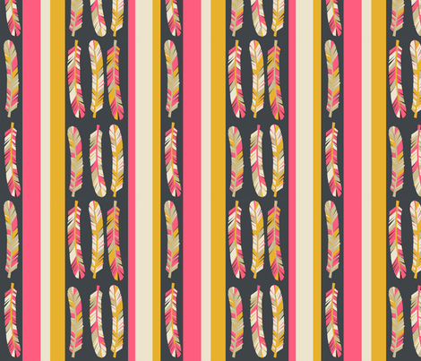 Feathers and Stripes - Midnight Blue/French Rose/Saffron/Cream fabric by andrea_lauren on Spoonflower - custom fabric