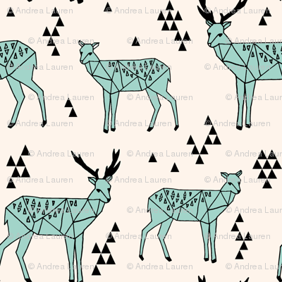 Geometric Deer - Pale Turquoise/Black/Champagne