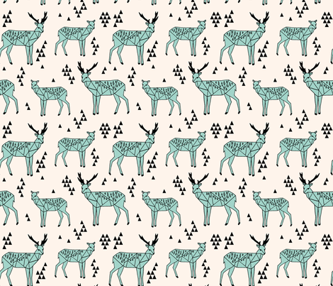 Geometric Deer - Pale Turquoise/Black/Champagne fabric by andrea_lauren on Spoonflower - custom fabric