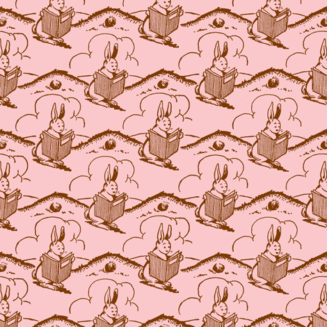Bunny Tales - Pink fabric by tuppencehapenny on Spoonflower - custom fabric