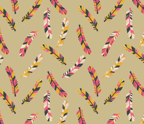 Feathers Scattered - Parisian Blue/Cream/French Rose/Saffron fabric by andrea_lauren on Spoonflower - custom fabric