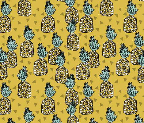 Pineapple - Mustard fabric by andrea_lauren on Spoonflower - custom fabric