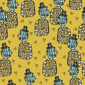 Pineapple - Mustard - Geometric Triangle Summer Tropical Design by Andrea Lauren