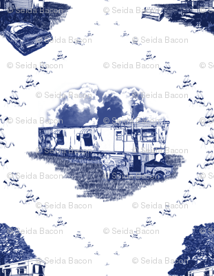 Trailer Trash Toile (Blue on White)