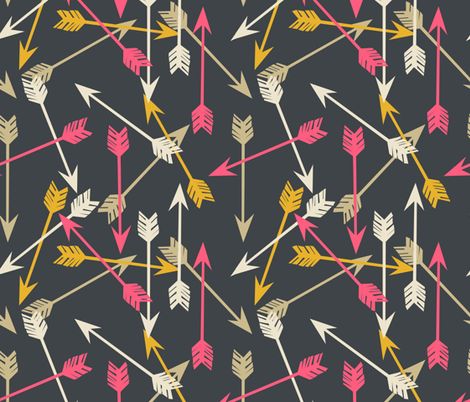 Arrows Scattered - Midnight Blue/Cream/French Rose/Saffron fabric by andrea_lauren on Spoonflower - custom fabric