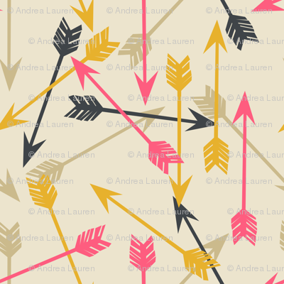 Arrows Scattered - Cream/Midnight Blue/French Rose/Saffron