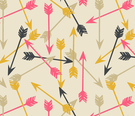 Arrows Scattered - Cream/Midnight Blue/French Rose/Saffron fabric by andrea_lauren on Spoonflower - custom fabric