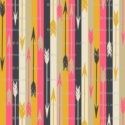 Arrows in Stripes - Midnight Blue/French Rose/Saffron/Cream