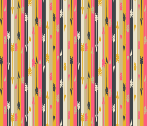 Arrows in Stripes - Midnight Blue/French Rose/Saffron/Cream fabric by andrea_lauren on Spoonflower - custom fabric