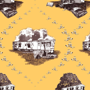 Trailer Trash Toile (Brown & Gold)