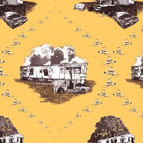 Trailer Trash Toile (Brown & Gold)