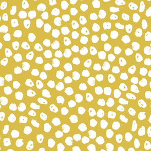yellow and white dots // spots inky dots yellow