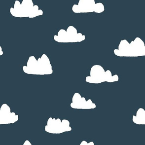 clouds // dark grayish blue cloud design for baby nursery