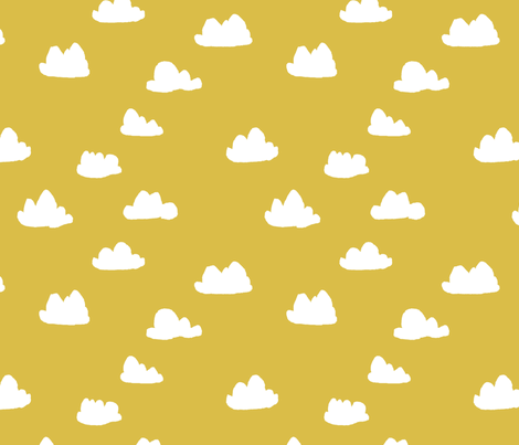 clouds // mustard cool gender neutral mustard yellow cloud design for baby fabric by andrea_lauren on Spoonflower - custom fabric