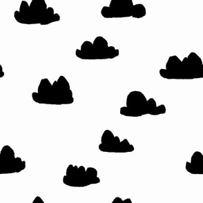 clouds // black and white cool scandinavian minimal nursery fabric simple cloud illustration for textiles and home deocr