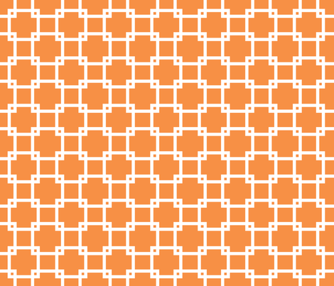 Lattice_tangerine fabric by walrus_studio on Spoonflower - custom fabric