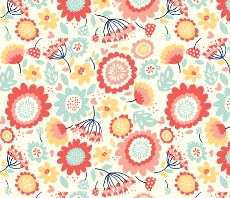 Dancing_Flowers fabric by stacyiesthsu on Spoonflower - custom fabric