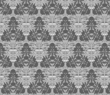 Triangular waratahs in grays by Su_G fabric by su_g on Spoonflower - custom fabric