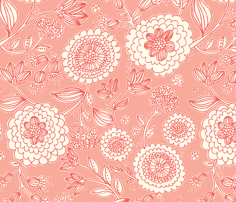 Flower_Fun_Coral fabric by stacyiesthsu on Spoonflower - custom fabric