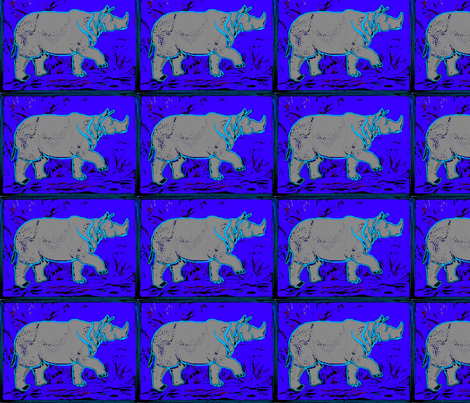 Rhino  - neon blu fabric by bettinablue_designs on Spoonflower - custom fabric