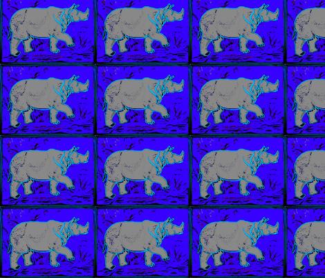 Rhino  - neon blu fabric by bettieblue_designs on Spoonflower - custom fabric