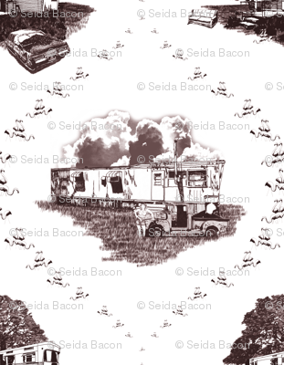 Trailer Trash Toile (Brown on White)