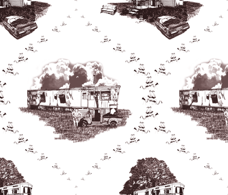 Trailer Trash Toile (Brown on White) fabric by seidabacon on Spoonflower - custom fabric