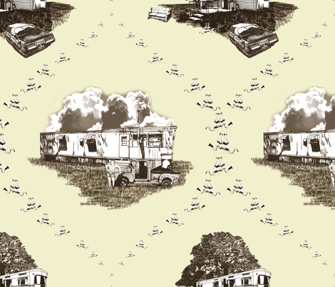 Trailer Trash Toile (Brown & Yellow) fabric by seidabacon on Spoonflower - custom fabric