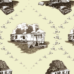 Trailer Trash Toile (Brown & Yellow)