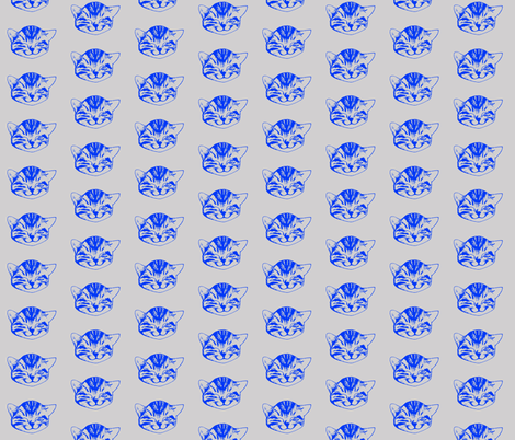 kitty small blue gray fabric by whateverworksbyandreastill on Spoonflower - custom fabric