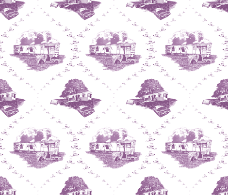 Trailer Trash Toile (Mauve & White) fabric by seidabacon on Spoonflower - custom fabric