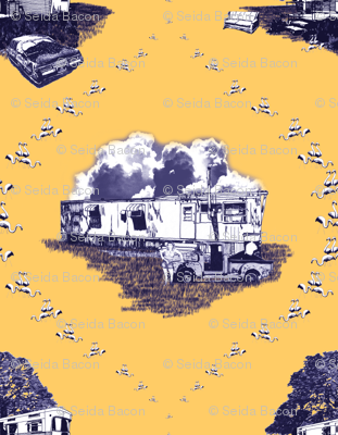Trailer Trash Toile (Purple & Gold)