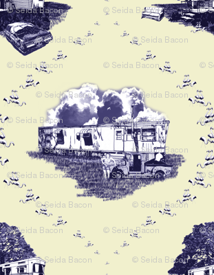Trailer Trash Toile (Purple & Yellow)