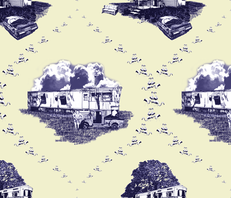 Trailer Trash Toile (Purple & Yellow) fabric by seidabacon on Spoonflower - custom fabric
