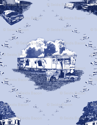 Trailer Trash Toile (Blue on Blue)