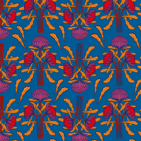 Waratahs on mid-blue by Su_G fabric by su_g on Spoonflower - custom fabric